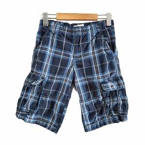 Nevada Plaid Cotton Cargo Shorts Blue 14